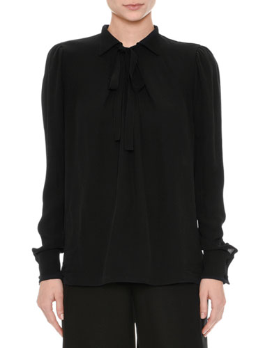 Long-Sleeve Georgette Blouse, Black