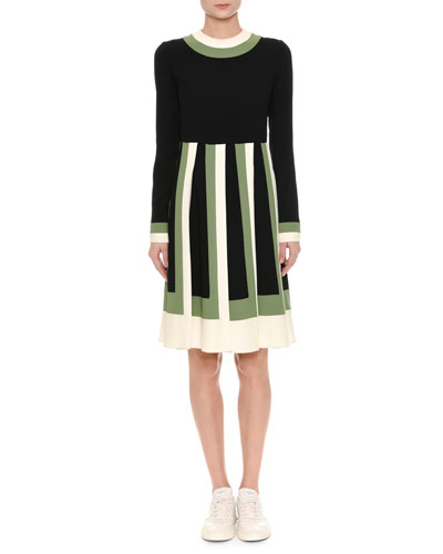 Long-Sleeve Colorblock-Pleated Dress, Multi