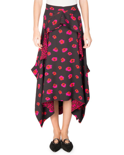 Asymmetric Printed Georgette Midi Skirt, Multi Pattern