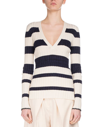 Striped V-Neck Pullover Sweater, White