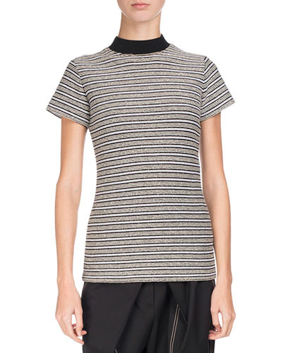 Mock-Neck Striped Boucle Jersey Top, Multi