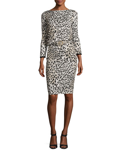 Belted Long-Sleeve Cheetah-Print Dress