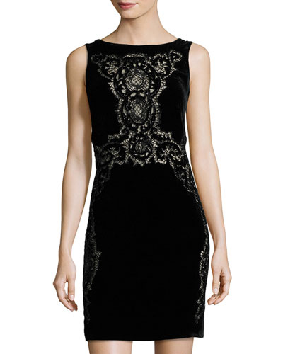 Sleeveless Lace-Trim Velvet Dress, Black
