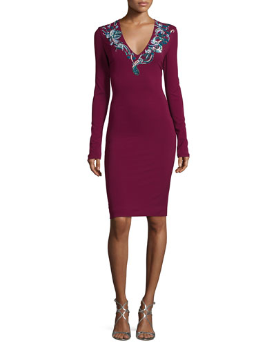 Sequined Long-Sleeve Jersey Dress, Purple Pattern