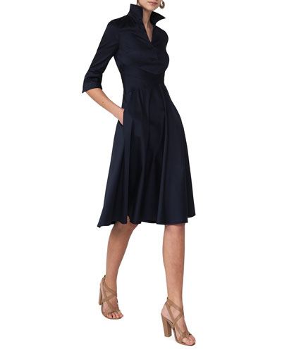 3/4-Sleeve Stretch-Woven Shirtdress, Navy