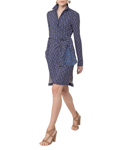 Abstract-Print Wrap-Front Shirtdress, Blue