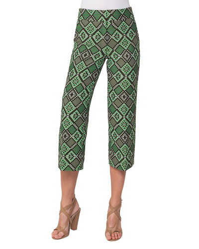 Madison Cropped Geometric-Print Pants, Multi