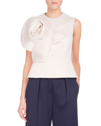 Sleeveless Neoprene Top w/Rosette Detail, White