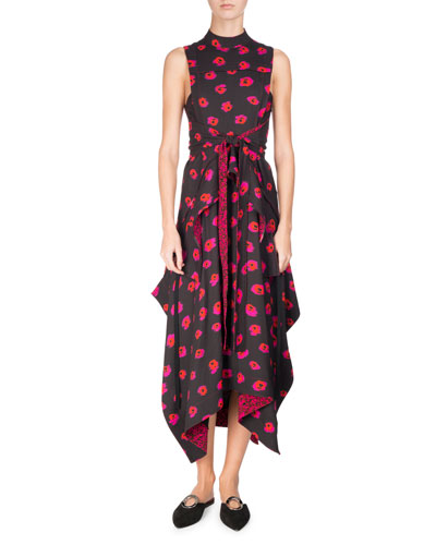 Sleeveless Floral-Print Dress, Black/Pink