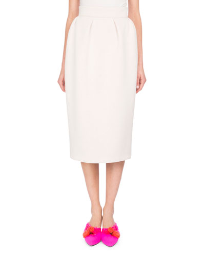 Neoprene Pencil Skirt, White