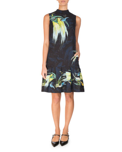 Nena Bird-Print Drop-Waist Dress, Black/Yellow