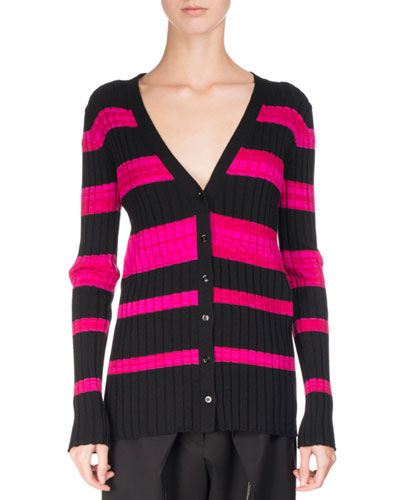 Ultrafine Striped Knit Cardigan, Pink/Black