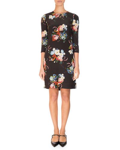 Emma 3/4-Sleeve Mini Dress, Black Pattern