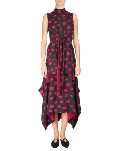 Sleeveless Tie-Front Printed Georgette Dress, Multi