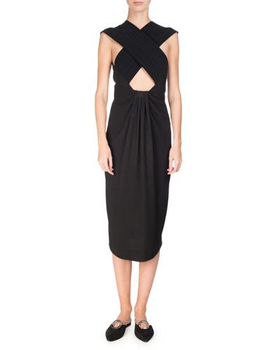 Cross-Front Sleeveless Pencil Dress, Black