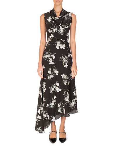 Milana Floral Cowl-Neck Midi Dress, Black/White