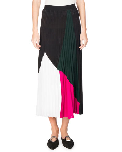 Pleated Colorblock Midi Skirt, Multi Pattern