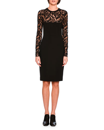 Long-Sleeve Lace Pencil Dress, Black