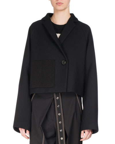 Cropped One-Button Wool Coat, Black