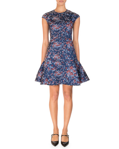 Darlina Floral-Print Cap-Sleeve Dress, Blue/Red