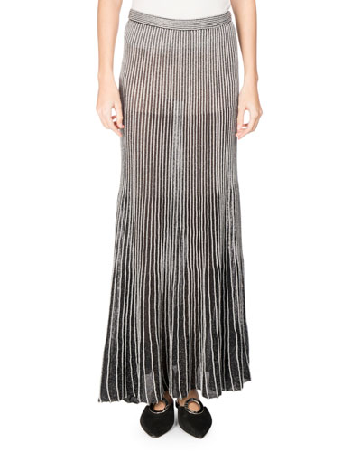 Metallic Knit Maxi Skirt, Silver