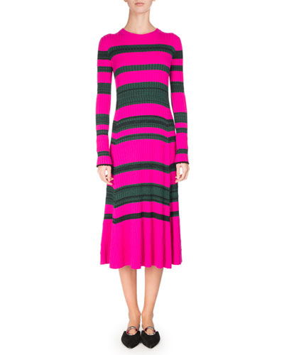 Striped Knit Long-Sleeve Midi Dress, Pink/Green
