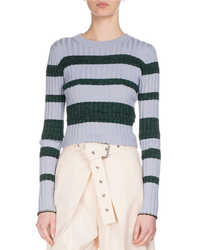 Ultrafine Striped Knit Sweater, Blue/Green
