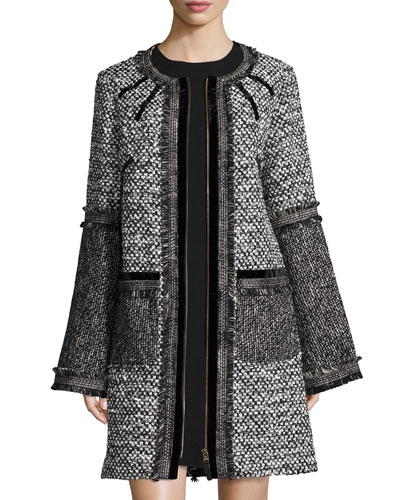 Tweed Zip-Front Coat, Black/White