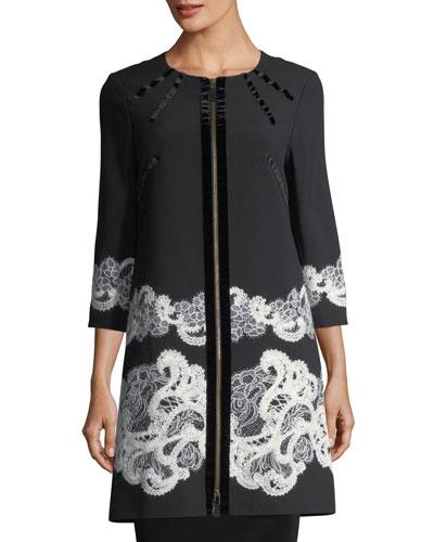 3/4-Sleeve Lace-Trim Crepe Jacket
