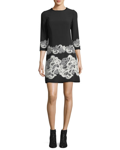 3/4-Sleeve Lace-Trim Dress