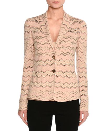 Zigzag Two-Button Blazer, Neutral Pattern
