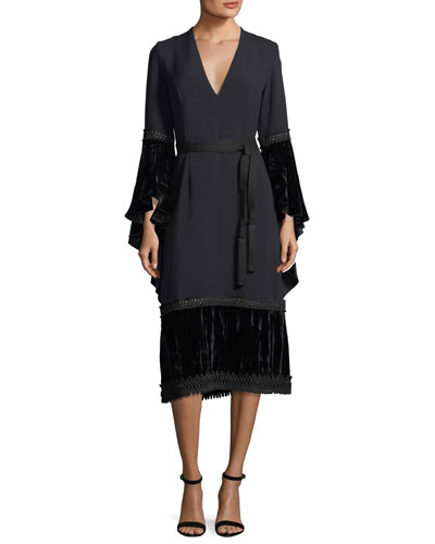 Crepe V-Neck Tie-Waist Dress