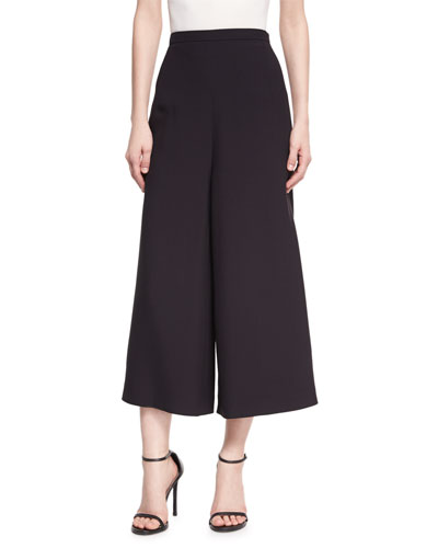 Wide-Leg Cropped Crepe Pants, Black