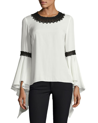 Silk Blouse w/Contrast Embroidery, Cream