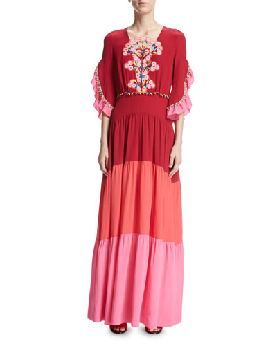 Bouquet-Embroidered Colorblock Maxi Dress, Pink
