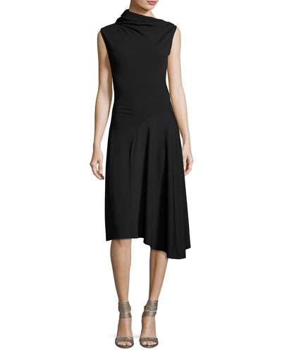 Asymmetric High-Neck Midi Dress, Black