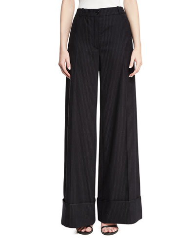Cuffed Wide-Leg Pinstriped Pants