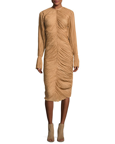 Ruched Long-Sleeve Midi Dress, Camel