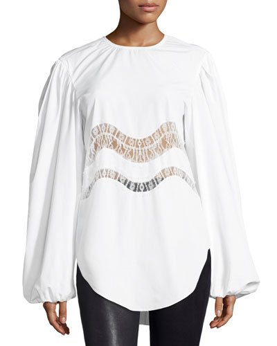 Lace-Trim Puff-Sleeve Blouse, White