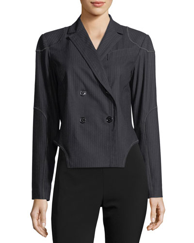 Pinstriped Double-Breasted Jacket