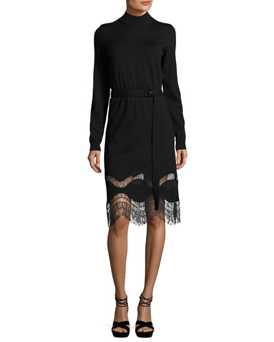Mock-Neck Long-Sleeve Lace-Hem Dress, Black