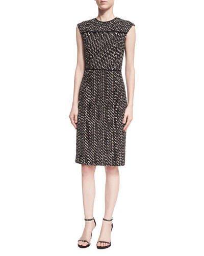 Cap-Sleeve Tweed Dress