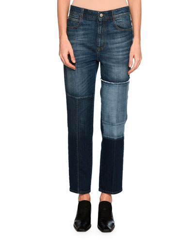 High-Waist Patchwork Skinny Jeans, Blue