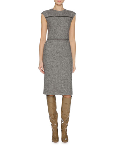Cap-Sleeve Stretch-Wool Sheath Dress, Gray