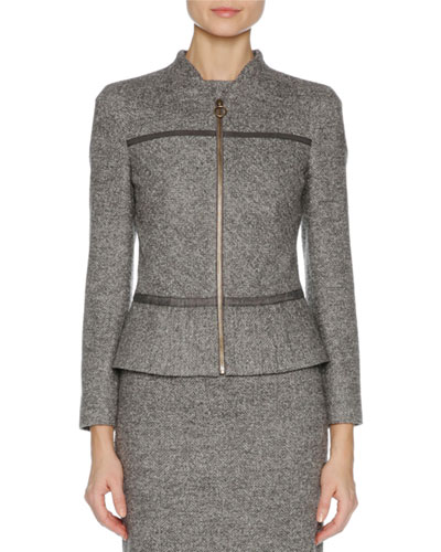 Stretch-Wool Zip-Front Jacket, Gray