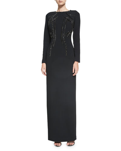 Crystal-Beaded Stretch-Crepe Column Gown, Black
