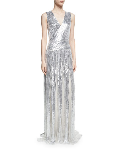 Sleeveless Sequined Panel Gown, Silver