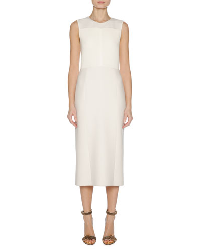Sleeveless Stretch-Knit Sheath Dress, White