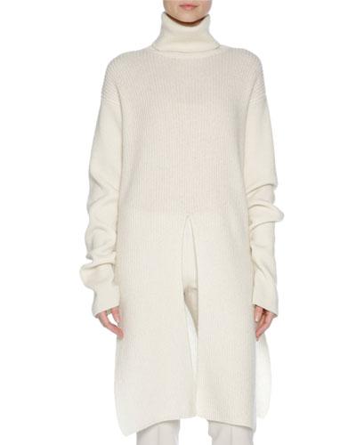 Ribbed Turtleneck Sweater, White