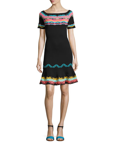 Short-Sleeve Geometric-Embroidered Dress, Multi